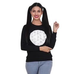 Second Half Black Fleece Geometric Print Sweat Shirt-SH0049