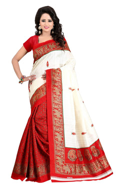 16TO60TRENDZ Red Color Printed Bhagalpuri Silk Saree $ SVT00497