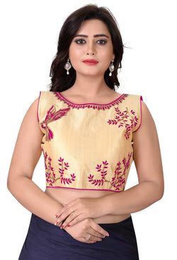 YOYO Fashion Beige Malbari Embriodered Extra Sleeve With Blouse $ YOYO1-BL4009-Pink