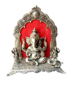 International Gift Silver Plated Ganesh God Idol with Red Velvet Box Packing (24 cm, Silver) Exclusive Gift Items for Diwali Gift, Wedding Gift and Birthday Gift $ GNI-107