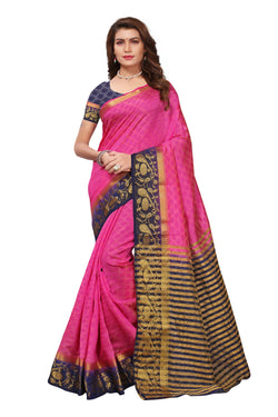 16to60trendz Pink and NavyBlue Tusar Silk Handloom Art Work Kanjivaram saree $ SVT00039