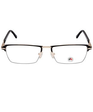 David Blake Matte Black Gold Rectangular Half Rim EyeFrame