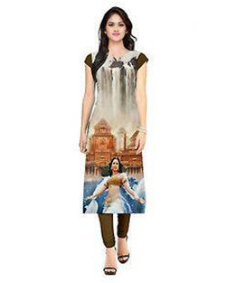 Muta Fashions Women's Semi Stitched Casual American Crepe Multi Color Kurti $ KURTI71