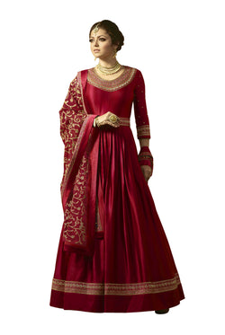 YOYO Fashion Red Faux Georgette Anarkali Salwar Suit & YO-F1315-Red