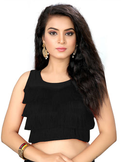 YOYO Fashion Black Silk Solid Blouse & YO-BL4010-Black