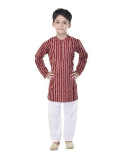 Soundarya Cotton Maroon Printed Kurta and Payajama