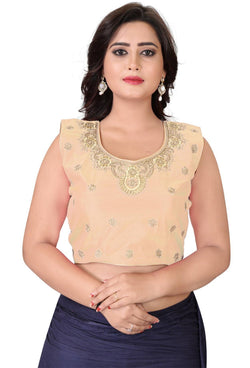 YOYO Fashion Beige Silk Embriodered Extra Sleeve With Blouse $ YOYO1-BL4004-Beige