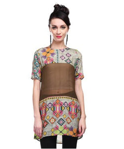 Hemant And Nandita Beige,Olive And Multi Tunic
