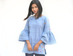 Blue Khadi Cotton Cactus Top with Flared sleeves $ IWK-00703