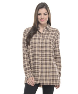 ENTEASE BROWN COTTON SHIRT