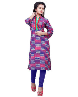Muta Fashions Women's Stitched Polyster Cotton Purple Knee length kurta $ KURTI407