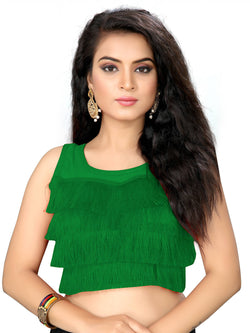 YOYO Fashion Green Silk Solid Blouse & YO-BL4010-Green