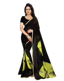 Muta Fashions Women's Unstitched Chiffon Green Saree $ MUTA1526