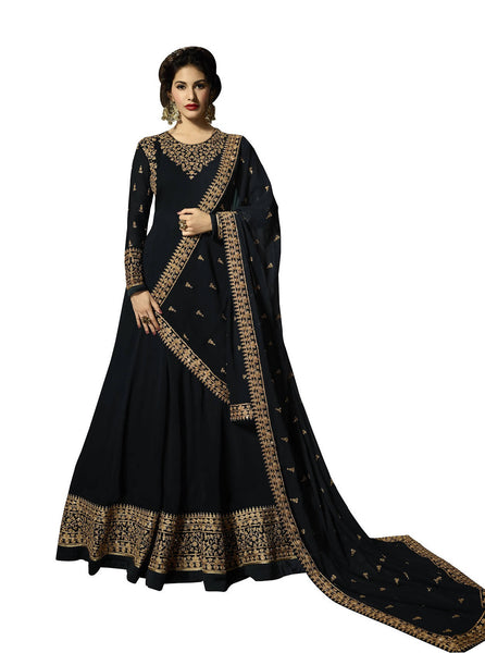YOYO Fashion Georgette Anarkali Semi-Stitched salwar suit $ F1295-Black
