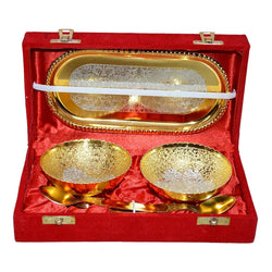 International Gift Gold Plated Bowl with Gold Plated Spoon and Gold Plated Tray (Set of 5 Pics, Gold) with Gold Box Packing Exclusive Gift Items for Diwali Gift, Wedding Gift and Corporate Gift $ IGSPBR102