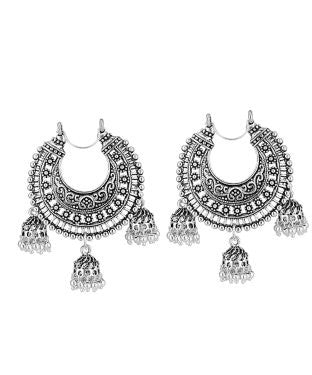 aradhya Mother of Pearl, Silver Jhumki Earring