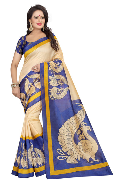 16TO60TRENDZ Blue Color Printed Bhagalpuri Silk Saree $ SVT00472