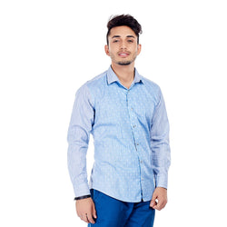 EVOQ Blue Block Printed Shirt With Round Hemline And Smart Spread Collar -Geometric Love_Blue