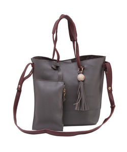Fiona Trends Grey PU Shoulder Bag,F010_GREY