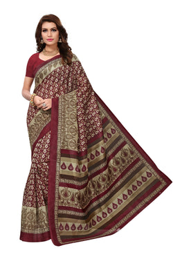 16TO60TRENDZ Maroon Color Printed Bhagalpuri Silk Saree $ SVT00466
