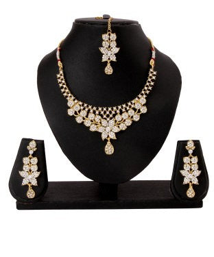 Adoreva Sparling White Stone Indian Necklace Earrings Set