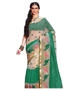 Beige-green figure embroidered supernet saree