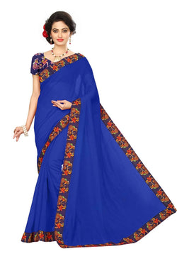 16to60trendz Blue Chanderi Lace Work Chanderi Saree $ SVT00096