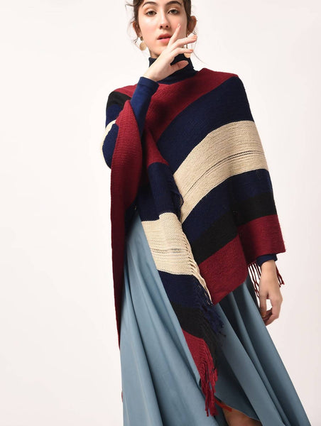 Aiyra Blue Color wollen Striped Woolen Poncho $ AR15825947_free size