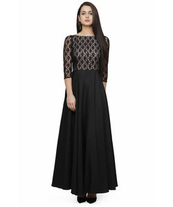 Fabricvilla New Wonderful Crepe Black, White Long Anarkali style Gown