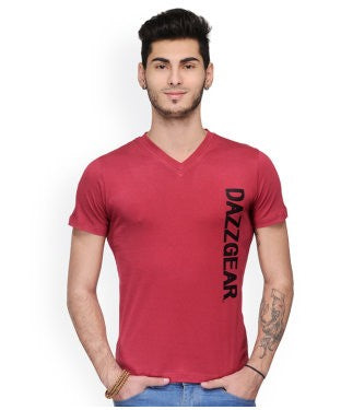 Dazzgear Men's Red V Neck MTV-63 T-Shirt