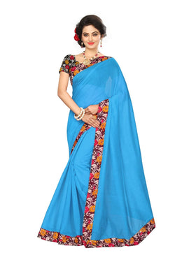 16to60trendz Sky Blue Chanderi Lace Work Chanderi Saree $ SVT00043