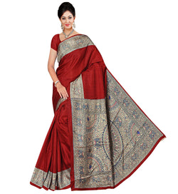 BL Enterprise Women's Bhagalpuri Cotton Silk Red Color Saree With Blouse Piece $ BLLB-49