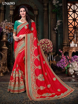 Umang NX Red Georgette Designer Printed with Embroidery Sarees $ UN6393