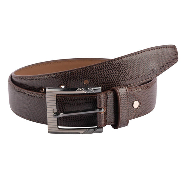 Baluchi's Brown Textured Semi Formal Men's Belt $ BLC_PMBR_1