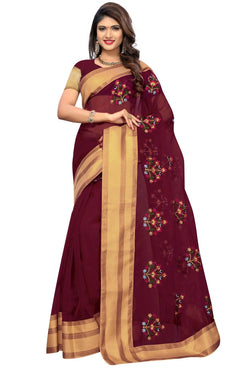 YOYO Fashion New Latest Poli Net Maroon Embroidered Saree With Blouse $ YOYO-SARI2635
