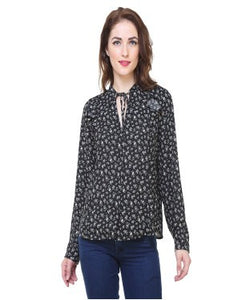 REDPOSE BLACK FLORAL PRINTED CASUAL SHIRT