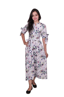 Libas Cotton Dress/Long Dress/Maxi Dress/One Piece DressPure Muslin Fabric, Sleeves with Stylish Knots Designs $ Libas-061