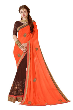 Muta Fashions Women's Unstitched Georgette Orange Saree $ MUTA1417