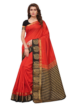 16to60trendz Red and Black Tusar Silk Handloom Art Work Kanjivaram saree $ SVT00024