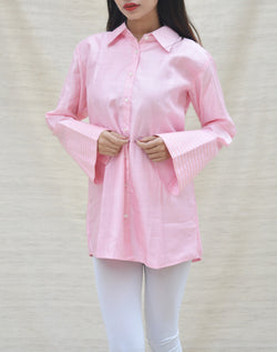 Pink Khadi Silk Shirt Collar Top $ IWK-000271