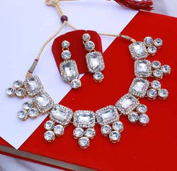 Gold Plated Alloy Metal Hand Crafted Work Women's White Kundan Necklace set $ AF788646