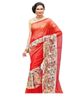 Red supernet embroidered supernet saree