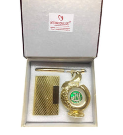 Gold Plated Pen and Gold Plated Visiting Card Holder and Gold Plated Peacock Shape Muslim God Allah for Car Dashboard 12 cm $ IGSPBR10103