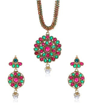 Sia red, green and gold necklace with earrings