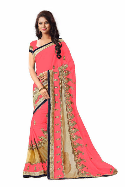 16to60trendz Magenta Georgette Embroidery Designer Saree $ SVT00262