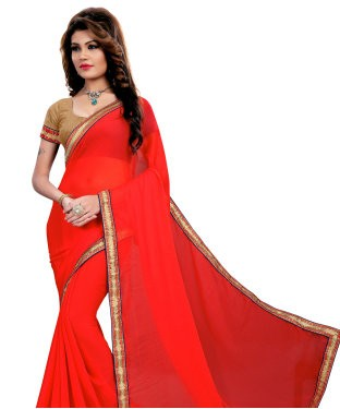 AAR VEE Peach Nazmin Lace Border Saree