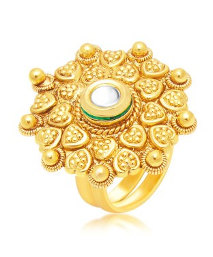 Sukkhi Marquise Gold Plated Ring For Women