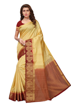 16to60trendz Gold and Red Tusar Silk Handloom Art Work Kanjivaram saree $ SVT00031