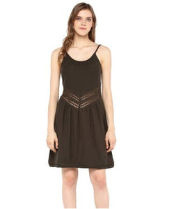 Miway Black Solid Shift Dress