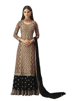 YOYO Fashion Georgette Straight Semi-Stitched salwar suit $F1297-Black